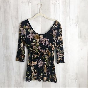 [Salaam] Scoop Neck Floral Print Stretch Blouse